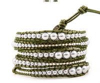 New vintage style friendship weaving leather five wrap bracelet african jewelry shell pearl beads handmade bracelet CL-116