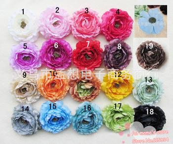 MX016 new 20 pcs 10cm Camellia Artificial Flowers Kid Baby Girl Headband Headwrap Headbands Headwear Hair Bow Clip Crochet Knit