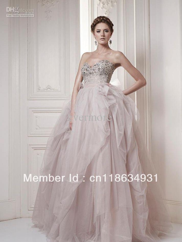 Light pink wedding dresses simple promotion online for Simple pink wedding dress