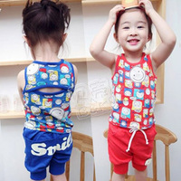2013 summer smiley boys clothing girls clothing baby vest capris set tz-0358