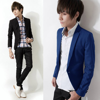 277-g68-f55 13 casual male suit small fresh 7 covered button blazer blue