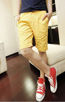 1104-k05-f55 all-match candy color male shorts capris knee-length pants yellow