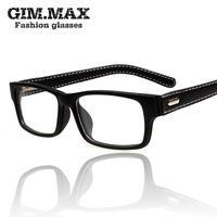 Gimmax square frame glasses vintage black leather eyeglasses frame myopia plain glass spectacles