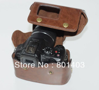 Leather Camera Case Bag For Panasonic Lumix G5 DMC-G5 Brown