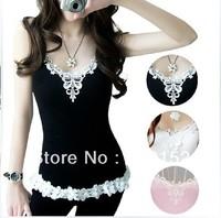 1 PCS Free Shipping Promotion The New Fashion Women Brand Vest lace Woman's Sleeveless T-Shirt TANKS