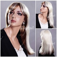 New arrival Free shipping cosplay party long straight white women's wigs/hot selling middle length girls fashion wigs with bangs