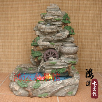 Rockery fountain resin craft decoration with water fish pond watertruck crystal ball stonewashed