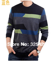 Male spring and autumn t-shirt hot-selling quality easy care o-neck long-sleeve knitted color block knitted sweater