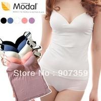 Spring/summer sexy Women sun-top corset slight paded bra sun back blouse,lady vest with bra M,L size free shipping 12sets/lot