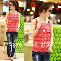 2013 all-match diamond-studded cake lace spaghetti strap vest basic needle shirt chiffon laciness  ladies' tanks