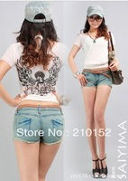2013 free shipping promotion the new hot water to wash denim shorts denim hot pants 3013
