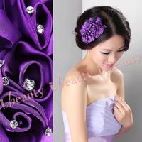 Chiffon rose fat plug multicolor wedding dress the bride married evening dress hair accessory