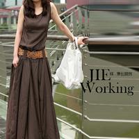 Free shipping 2013 ! New Original design o-neck sleeveless one-piece dress coffee mere loin belt