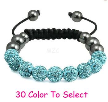 Min.$15 Mixed Order+Free Shipping+Gift.10mm Blue Disco Ball Beads Crystal Shamballa Bracelet Fasion Jewelry For Women Men.