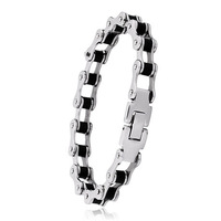 Wholesale Lots Black Biker Bicycle Motrocycle Chain Bracelet man Personality Vintage 316L Fashion STAINLESS Steel Jewelry BC4046