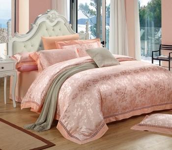 Satin cutout jacquard four piece set wedding kit 100% luxury cotton bedding royal boxing