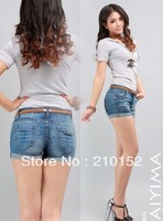 2013 free shipping promotion the new hot water to wash denim shorts denim hot pants 3005