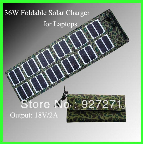 Updated 36W Mono Solar Panel Battery Charger+Foldable Charger Bag/Wallet+USB5V DC16-19V Output+Battery Backup HOT Free Shipping(China (Mainland))