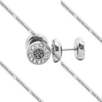 1 pair of 00g 316L Surgical Steel Fake Ear Plug  leopard logo  Body Jewellery