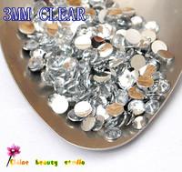 wholesale 3MM CLEAR Acrylic RESIN silver FLATBACK  RHINESTONE FOR DIY 3D NAILS ART PHONE glitter decorations 10000PCS/LOT