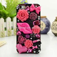Free shipping new products for 2013 New Bling Handmade 3D Flower Diamond Rhinestone Case For iPhone 4 4g 5