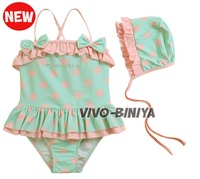 New Summer beach wears swimsuits with caps 2pcs/set girl's swimwear kid Polka dots Swim suits (5 sets/lot) Free Shipping