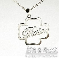 Pure silver personalized name necklace letter necklace four leaf clover letter necklace name necklace