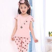 Child set Pink buddhistan red female summer child clothes children's clothing 120 - 150 height