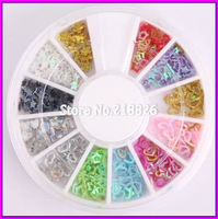 DIY assorted color 3D sequins flower ,star, heart nail art slices Nail Sticker UV Acrylic Decoration Wheel