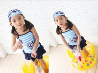 Summer Swimwears+caps 2pcs/Set Lovely Mickey Mouse Beach wears Girl's Bathing suit Navy Swim wear (3set/lot)Free Shipping
