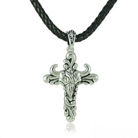 Free Shipping! Hot-sale! Titanium Steel Punk Bull Cross Pendant Statement Necklaces Men Jewelry Leather Brand Jewelery N393