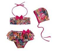 Best Selling Girl's Summer Floral Bikinis+Caps 3pcs/set Children's Flower Bikinis Set Swim wears Swim suit Retail