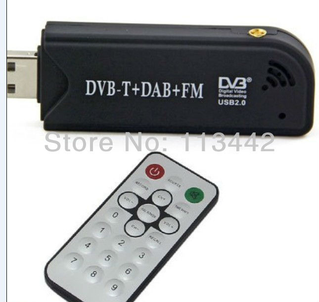 wholesale 10pcs Free shipping Mini Digital TV Stick TV Receiver USB DVB-T+DAB+FM TV Tunner Chip Realtek RTL2832U+R820T hot sale