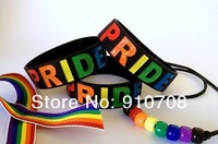 "2013.2014 Rainbow gay Pride Merchandise Wristand Bracelet Proud homosex wristband  ,1"" silicone band,50pcs/lot,   free shipping"