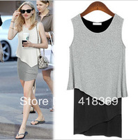 Women's summer 2013 color block decoration faux two piece set one-piece dress slim asymmetrical sleeveless one-piece dress