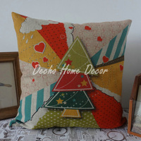 Free shipping 45cm*45cm Merry Christmas Tree Linen Colorful Cushion Cover Pillow Case Star and Heart