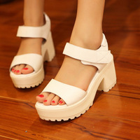 Summer new arrival 2013 platform white fashion platform soft PU women's high-heeled shoes thick heel sandals
