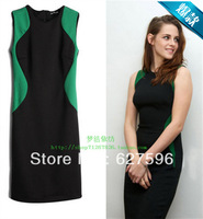 2013 women's summer pullover sleeveless one-piece hit color dress paragraph of Twilight actress O-neck dirndl