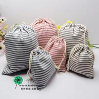 Zakka fluid beam stripe cloth underwear travel clothing shoes small drawstring storage bag