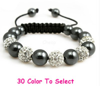 Min.$15 Mixed Order+Free Shipping+Gift.10mm White Disco Ball Beads Crystal Shamballa Bracelet Fasion Jewelry For Women Men.