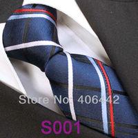 Coachella  Men's ties 100% Pure Silk Tie Navy With Red Blue White Stripes Woven Necktie Formal Neck Tie for dress shirts Wedding