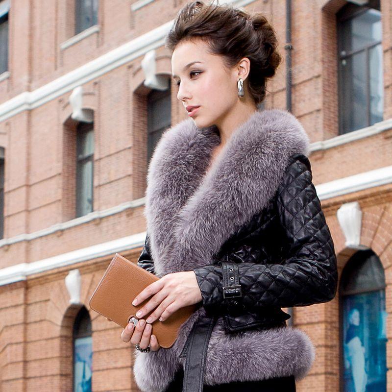 2014 ladies' moda vera pelle di pecora cappotto giacca di pelle con collo di pelliccia di volpe donne cappotti corti vk0711 abbigliamento di pelliccia naturale