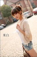 2014 spring and summer new Korean yards stripe hollow sweater women cardigan sweater shawl jacket