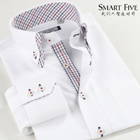 Free shiping  Smart five 2013 new men's white  shirt 100% cotton business casual double collar long-sleeve dress slim shirts