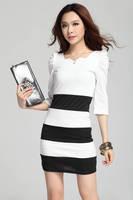 TJ80198 80198 Spring and Autumn Korean 2013 new fashion Slim Stripe Knit Dress Puff stitching
