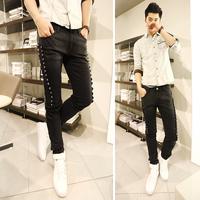 Trend men's clothing denim trousers punk personality male multi-button water wash denim slim skinny pants male