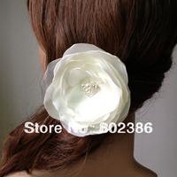 Free shipping 4 inches Ivory Satin Organza Burned Organza Flower loose pearl rhinestone center
