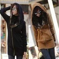 New Women's Long Sleeve Leopard Jacket Coat Warm Sweater Outerwear Casual Hoodie Sweatshirt  FREE SHIPPING W114