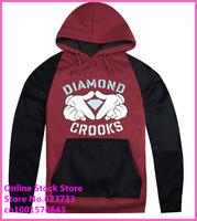 Stock Free Shipping Cheap Raglan sleeve 2014 hip hop new style Diamond supply co mens autumn winter high fashion brand Hoodies