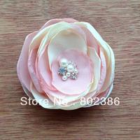Free shipping 3 inches Chiffon Organza Burned Organza Flower Crystal Pearl rhinestone center